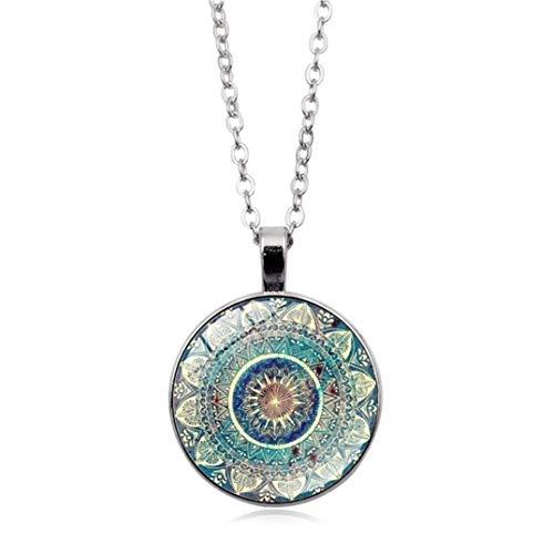 Garispace Vintage Glaskuppel Halskette Yoga Halskette Buddhismus Chakra Glas Anhänger Frauen Schmuck Yoga Mandala Halsketten für Frauen Männer Unisex(Silber)
