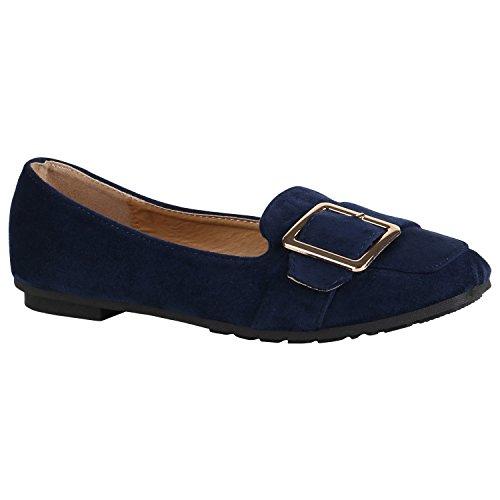 Stiefelparadies Damen Schuhe Halbschuhe Brogues Lack Übergrößen Schnürschuhe Blockabsatz 156044 Dunkelblau Schnallen 39 | Flandell® (Schnalle-mokassin)