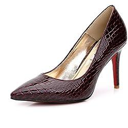 SUNROLAN Damen Schuhe High Heel Pumps PU Leder Elegant Stilettoabsatz Party Arbeit Abend Rot 42