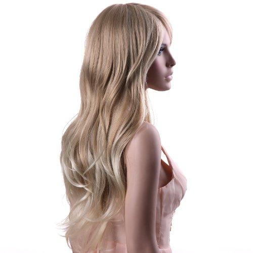auen Damen Haar lockige Lang Wig für Karneval Fasching Cosplay Party Kostüm Blond Weiblich WFF076 (Blonde Perücke Mit Pony Halloween)