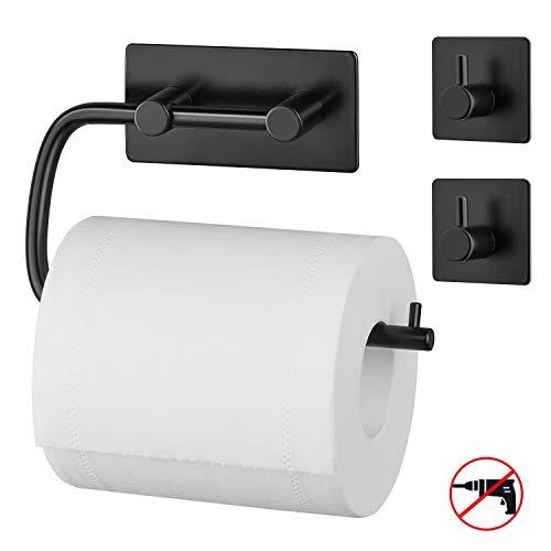 MaidMAX Toilettenpapierhalter ohne Bohren und zwei Haken aus 304 Edelstahl, selbstklebend mit 3M-Kleber, Klopapierhalter Handtuchhaken, Badzubehör Set aus 3 Stücken, Badezimmer Set -Schwarz