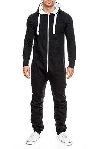 Uomo Tuta Jogger Jogging Tuta Tuta da ginnastica Overall costume intero onesie nero s