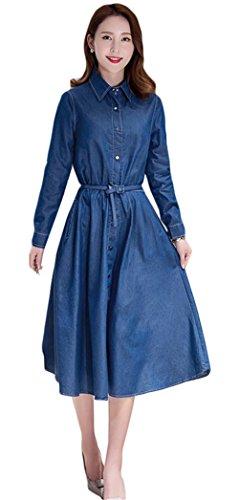 Die Frauen eleganten Revers Langarm Slim Fit Lang Knopf Denim-Kleid Rand-Kleid Dunkelblau