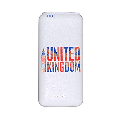 Tritina Travel Batería externa 20000mah Cargador Compatible con iphone, Samsung, puerto USB doble Salida de carga rápida 2.1a / 1a, banco de energía móvil de grado superior - Blanco