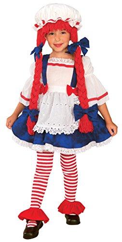 Kleinkind Rag Doll Kost?m 1-2 Jahre. Hat mit angeschlossenem Garn Haare, mit angen?hter Sch?rze (Kostüme Kind Rag Girl Doll)