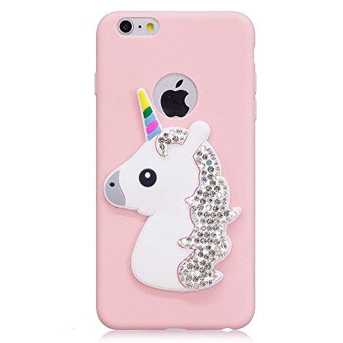 Solaxi iPhone 6 /6S Cover 3D Cartoon Unicorno Bling Glitter Diamante Brillante Lusso Sollievo Motif Guscio Morbido Sottile TPU Silicone Custodia Antiurto della Calotta Shockproof Anti-Scraches Skin Sh Rosa
