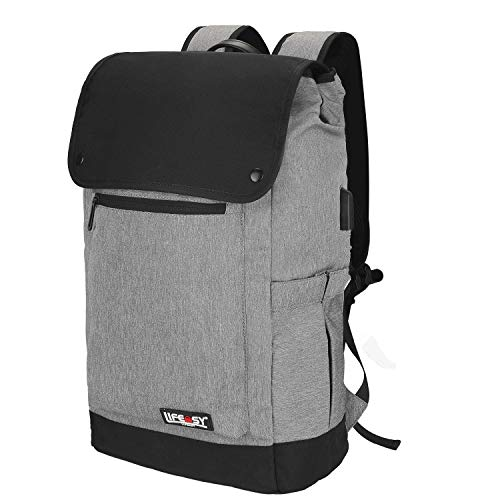 Lifeasy Sportrucksack Outdoor Rucksack, Highteck Rucksack Reiserucksack mit USB-Ladeanschluss,Vintage Lässiger Schulrucksack Daypack für 15.6 Zoll Laptop,30L (Gray)