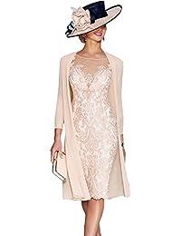 Dressvip Rose Dentelle Mère Robe mi-manches sous la robe de genou-longueur avec manteau FB01
