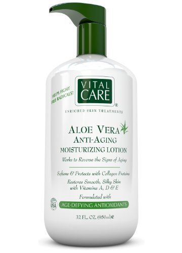 Age Defying Lotion (Aloe Vera Anti Aging Moisturizing Lotion by Vital Care, Softens and Protects with Collagen Proteins, Restores Smooth, Silky Skin with Vitamins A, D & E, Formulated with Age Defying Antioxidants for Enriched Skin Treatments, 32 Oz. by Vital Care)