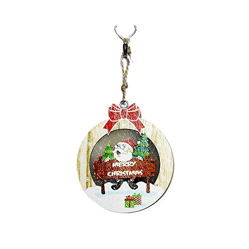 Weihnachten LED Hölzernes Licht Board, 12shage LED-Licht Anhänger Ornamente Weihnachtsbaum Dekor (C)