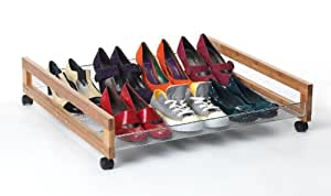 Under Bed Bamboo and Chrome Stacking Shoe Rack with Wheels for 8 Pairs - Stackable Shoe Trolley