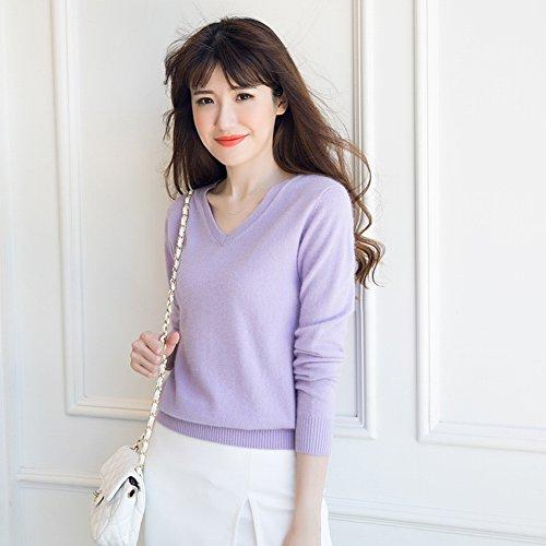 Good dress Kaschmir Pullover Allgleiches Pullover Allgleiches Pullover V-Ausschnitt Reine Farbe Primer Shirt Pullover , Cyan , XL