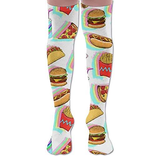 bf9716015b7af ruishandianqi Chaussettes Hautes New Painted Rainbow Fast Food Fashion  Stylish Comfortable Knee High Socks Long Socks