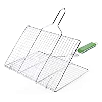 ‏‪Grilling Basket Non-Stick Barbecue Basket Heavy Duty BBQ Tools Grill Basket for Meats Fish Vegetables Steak‬‏