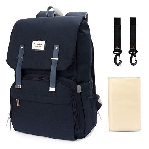 Wickelrucksack Wasserdicht Wickeltasche inkl. Wickelunterlage und Haken lässig groß Backpack für Mama und Papa (Dunkelblau)