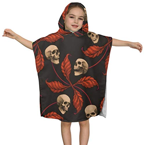 Cute Hooded Bath Beach Towel Vintage Halloween Cherry Skull Large Scale Cherry Skull Ultra Soft Quick Drying Super Soft Single Ply 100% Organic Cotton ()