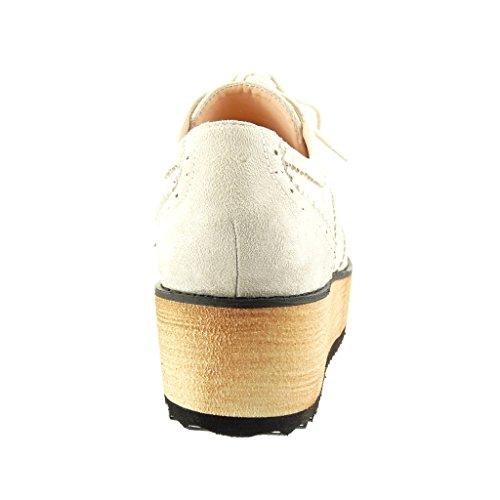 Angkorly Damen Schuhe Brogue Schuh - Plateauschuhe - Perforiert Keilabsatz High Heel 5 cm Beige