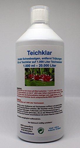 WFW wasserflora 1.000 ml Teichklar - Gegen grünes Teichwasser - Schwebealgen, entfernt Trübungen im Gartenteich, für 20.000 Liter Teich-Wasser -