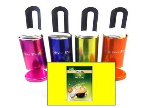 """4x Original für Senseo passend und anderer Fabrikate Paddosen \""""James Premium® \"""" mit Padlifter + 1 Packung Jacobs Caffè Crema, Kaffeepads"""