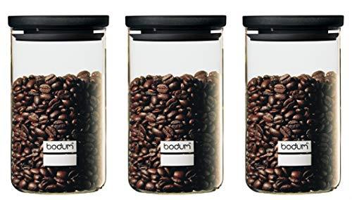 Bodum K8600-01 - Set di 3 barattoli in Vetro, 1 l, Coperchio in plastica