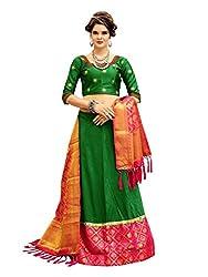 Kmozi Womens Art Silk Semi Stitched Lehenga Choli And Dupatta Set (Kmozi10_Green)