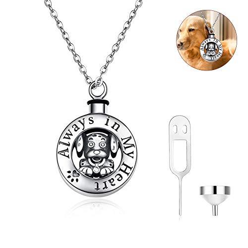 AOKF NJ Memorial 925 Sterling Silber Haustier Hund Feuerbestattung Urne Asche Andenken Memorial Anhänger Halskette für Unisex,Freie Kette,925SterlingSilver -