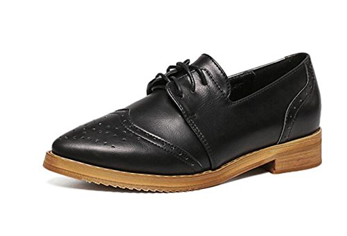 LDMB Frauen schnitzte Retro Querriemen flache Schuhe Black