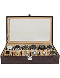 The Runner PU Leather Transparent Croc Finish Watch Box For 12 Watches