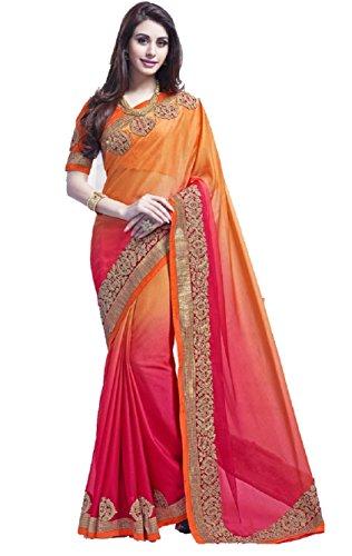Aracruz Latest Bollywood Saris Orange Pink Georgette Saree for women Partywear new...