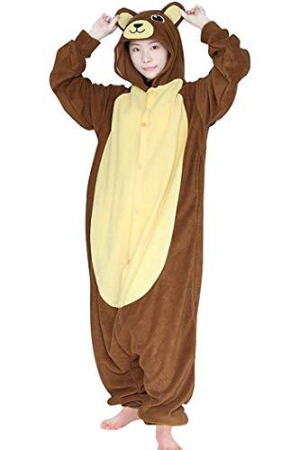 FORLADY Unisex-Onesie-Pyjamas für Erwachsene Tier-Overall-Fleece-Rollenspiel-Kostüm Familien-Pyjamas Bär (Familie Von 4 Themen Kostüm)
