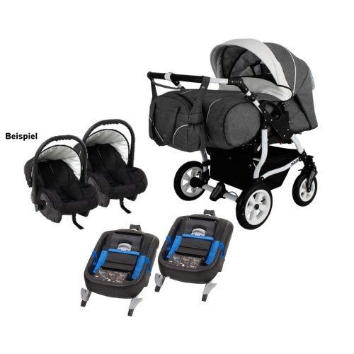 Adbor Duo Spezial Zwillingskinderwagen mit Babyschale, Zwillingswagen, Zwillingsbuggy D-3 grau / weiss