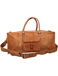 "Handcraft's ""Thomas"" 100% Genuine Leather Vintage Tan Hand Messenger Bag Travel Bag Cargo Duffel Bag"
