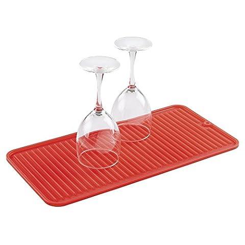 mDesign Tapis-égouttoir à vaisselle en silicone pour plan de travail - Petit, Rouge