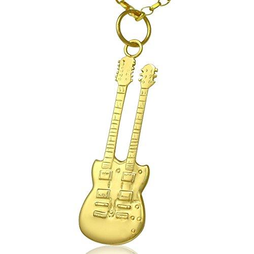 Gibson, in oro 9 k con doppio collo chitarra elettrica SG-Set di collana con pendente 50,80 cm o solo 0,0 (20 catena, Oro giallo, colore: giallo, cod.
