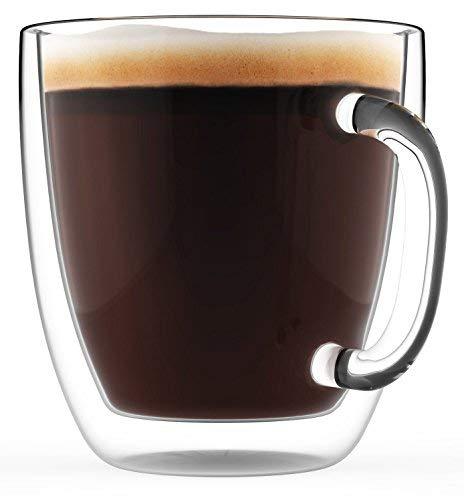 Großer Kaffeebecher, Doppelwandiges Glas Zweier-Set, 470 ml - Spülmaschinen- und mikrowellengeeignet - Durchsichtiges, einzigartiges Glas mit Henkel, wärme-isoliert, Von Elixir Glassware (2, 470 ml)