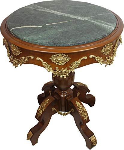 Casa Padrino Barock Beistelltisch mit Marmorplatte Braun/Gold Durchmesser 65 cm, Höhe 74 cm - Ludwig XVI Antik Stil Tisch -