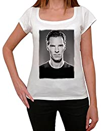 Benedict Cumberbatch 1, tee shirt femme, imprimé célébrité, Blanc, t shirt femme,cadeau