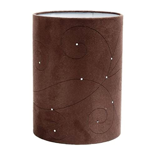 Large Swirls Laser Cut Brown Faux Suede Cylinder Ceiling Light