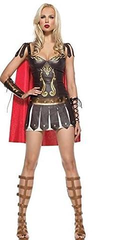 4 pièces Dames Xena Guerrier Déesse romaine en Cuir Faux Costume Robe Cap et Manchettes Taille 38-40