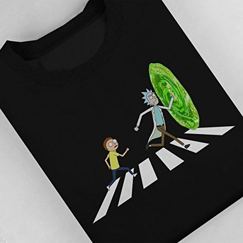 Rick And Morty Beatles Abbey Road Portal Women's Sweatshirt Black