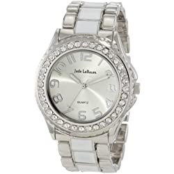 Womens Silver Tone and White Bracelet Watch With Rhinestones Accented Large Face Jade LeBaum JB202746G