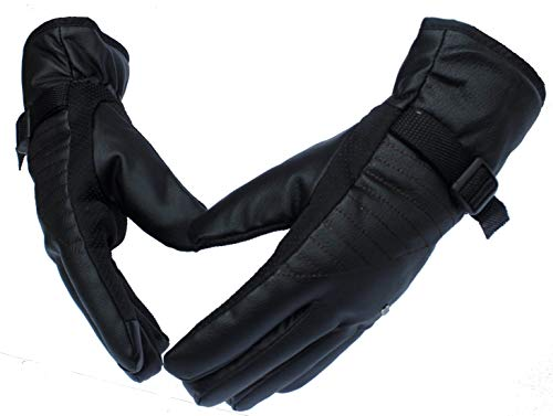Alexvyan Warm Black 1 Pair Leather Snow Proof Winter Gloves for Men Boy Protective Warm Hand Riding, Cycling, Bike Motorcycle Gloves - Ideal for Rough Usage (Model 1)