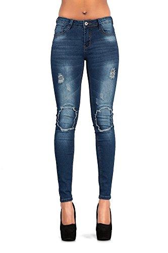 LustyChic - Jeans - Femme Dark Blue Frayed Rip Knee