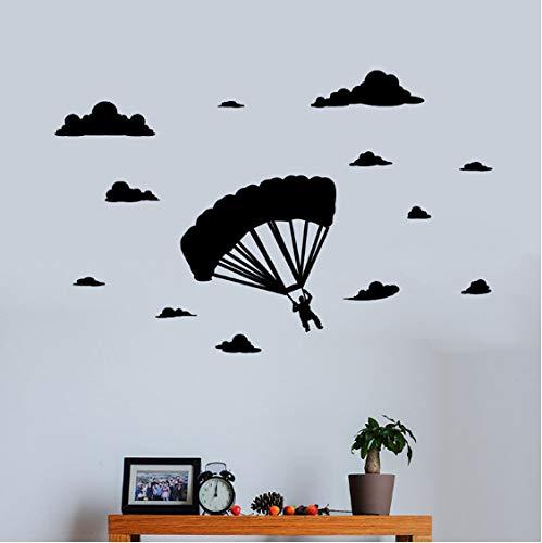 Geschnitzte Weiße Wolken Des Fallschirmes Abnehmbare Aufkleberextremsportwohnzimmer-Schlafzimmerdekorative Wandwandaufkleber