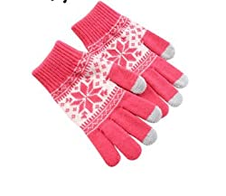 New Akira Knitting Gloves for Women Snow Pattern Thickened Velvet Knitting Gloves (Pink)