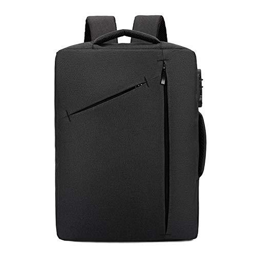 KHDJH Rucksack Smart Password Lock Rucksack Laptop Tasche Leichte Multi-Layer Business Travel Rucksack Für Männliche Studenten W schwarz