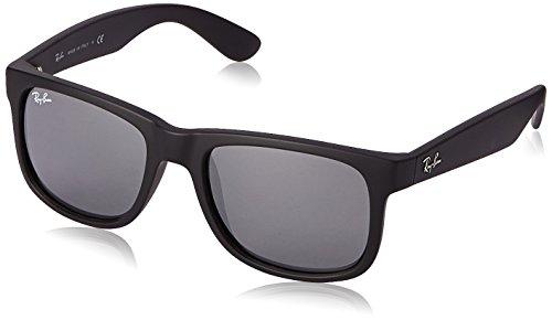 Ray-Ban RB4165 622/6G Justin Classic Sonnenbrille Large (Herstellergröße: 55), Schwarz (16 Matt)