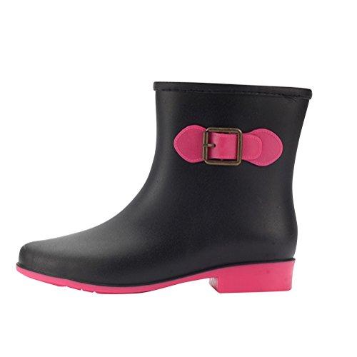 0cda1838c41 Mujer Botas De Lluvia Botas Mid Calf Estilo Clásico Festival Botas  Impermeable Zapatos Negro 36