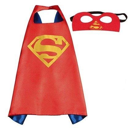 Ducomi® Costume superhero con cappuccio e mantello, Taglia Unica (Superman)