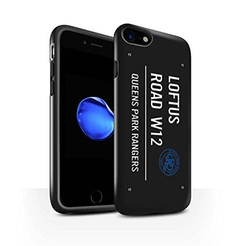 Officiel Queens Park Rangers FC Coque / Brillant Robuste Antichoc Etui pour Apple iPhone 8 / Noir/Bleu Design / QPR Loftus Road Signe Collection Noir/Blanc